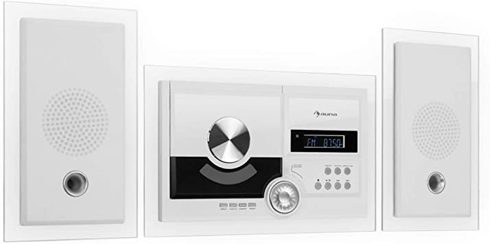 for Wall Mounting AUX Input CD Player Incl Clear LCD Display auna ...