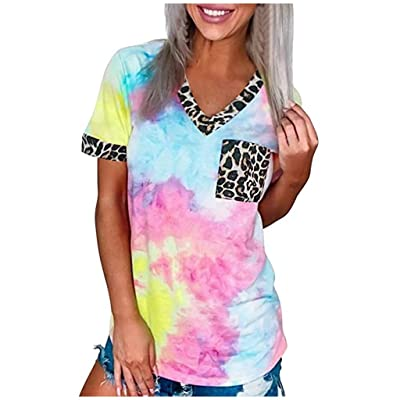 Xinantime Womens Casual Tie-Dye T Shirt Summer Leopard Patchwork V Neck Short Sleeve Tops: Clothing