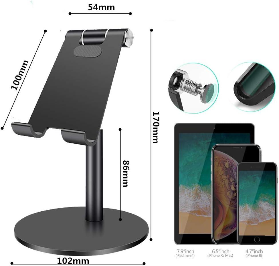 Aluminiumlegierung Tablet St/änder f/ür iPad Pro 9.7//12.9,iPad Air 2 3 4,Samsung,Huawei,iPhone,E-Reader SOECE Tragbarer St/änder mit verstellbarem Betrachtungswinkel Schwarz Schutz der Halswirbels/äule