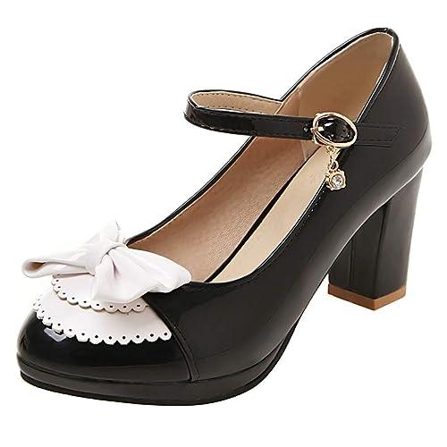 617a2fc4648 Amazon.com | Sondre Women's Vintage Rockabilly Platform Chunky High ...