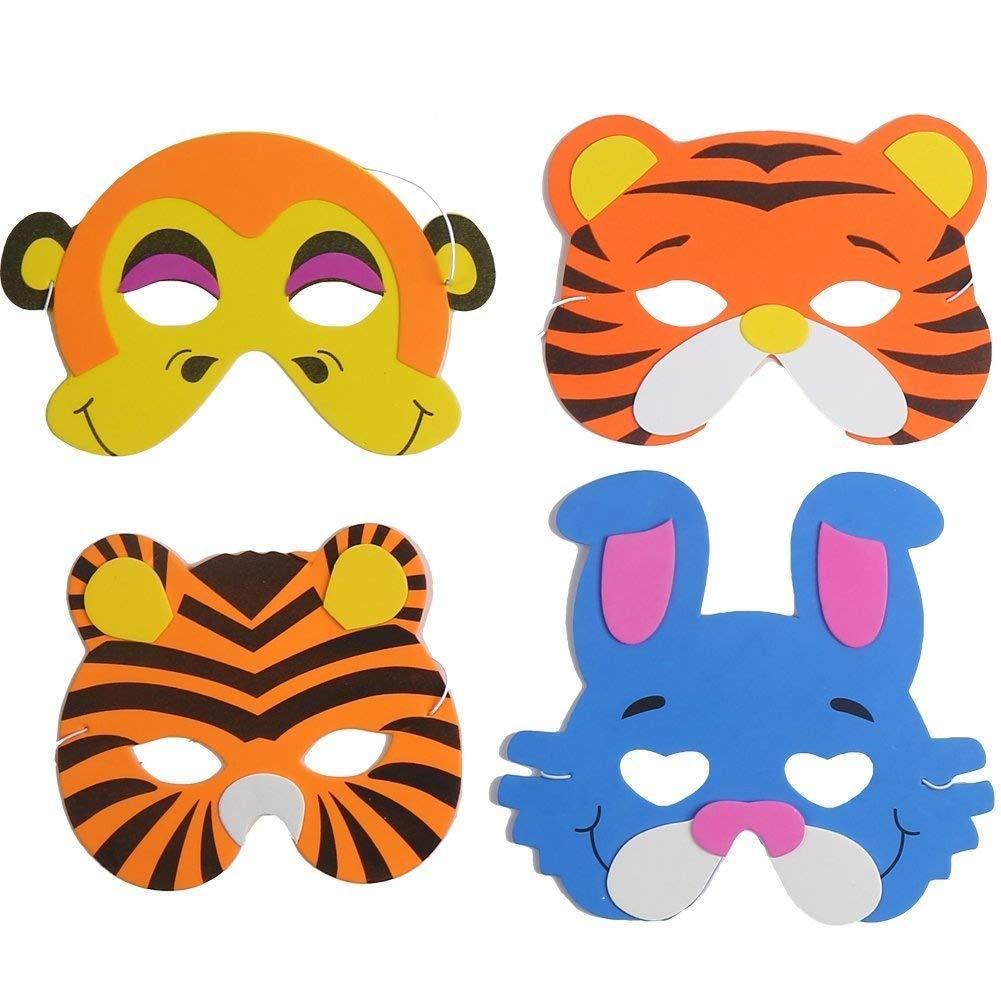 16 máscaras de espuma para niños de Ccinee, diseños variados de animales, para bolsas de regalo, 24 unidades: Amazon.es: Hogar