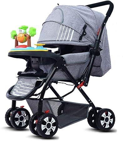 Opinión sobre Baby Stroller Cochecito liviano con Respaldo Ajustable, reposapiés y toldo, Asas de Empuje bidireccionales, Puede Sentarse y acostarse, Rodillos Antideslizantes Que absorben los Golpes