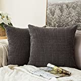 Decorative Pillow Cover - Pack of 2,Miulee Corduroy Soft Soild Decorative Square Throw Pillow Covers Set Cushion Case for Sofa Bedroom Car18 x 18 Inch 45 x 45 Cm