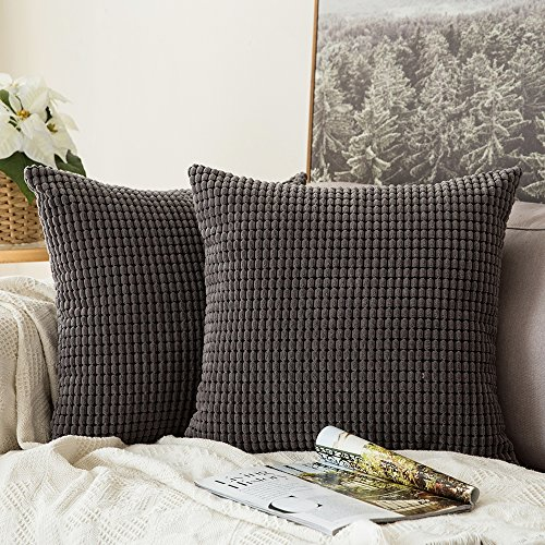 Miulee Pack of 2, Corduroy Soft Soild Decorative Square Thro