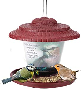 Evealyn Bird Feeders Tray Outdoor/Outside Waterproof Hanging,Large-Capacity Panoramic Feeding Automatic Wild Bird Feeder with Roof,Easy to Clean and Easy to Fill The Garden,Balcony,Windowsill (Red)