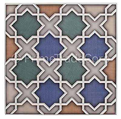 Moroccan Tile Box of 14 - These Moorish Style Tiles Exhibit Magnificent Artistry When Laid in Any Residential or Business Space. This 100% Money Back Guarantee Tile Creates a Fabulous Effect on Living Area Walls, Floors, Showers, Vanities, Fountains.