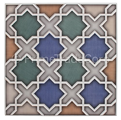 Moroccan Tile Box of 13 - These Moorish Style Tiles Exhibit Magnificent Artistry When Laid in Any Residential or Business Space. This 100% Money Back Guarantee Tile Creates a Fabulous Effect on Living Area Walls, Floors, Showers, Vanities, Fountains. by Moroccan Arts and Crafts Ltd