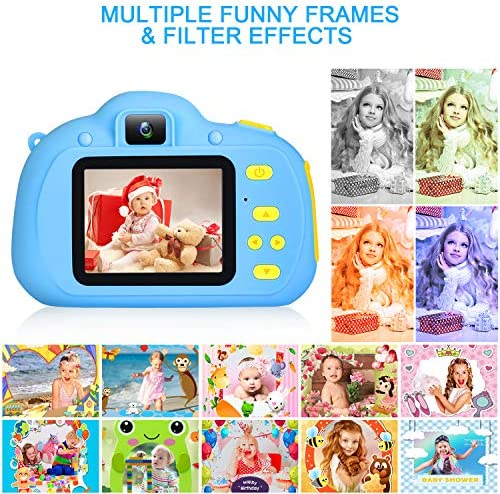 SANATINEK KIDS TOYS FOR 3-10 YEARS OLD BOYS GIRLS, KIDS CAMERA 1080P 8MP CHILDREN DIGITAL CAMERA FOR TODDLER WITH 32GB SD CARD, KIDS SELFIE CAMERA FOR BEST BIRTHDAY CHRISMTAS KIDS GIFTS - BLUE