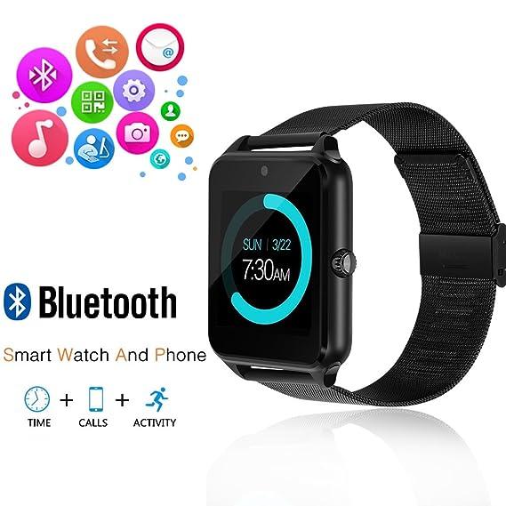 JoyGeek - Reloj inteligente con Bluetooth, teléfono con ranura para tarjeta SIM / pantalla táctil / cámara, para iPhone 6S, 6 Plus, 5S, 5C, 4, Samsung ...
