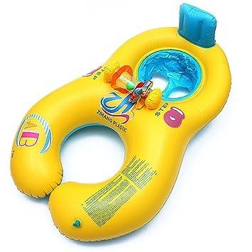 HONGCI - Flotador de natación para madre y bebé con toldo hinchable, (doble asiento