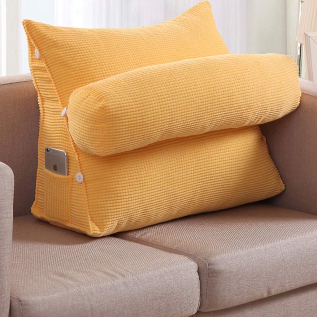 くさびの枕調節可能な三角形のベッド大きいクッションのオフィスの腰部のクッションのベッドの首の枕ソファーの枕クッション (色 : 黄, サイズ さいず : Length 45cm) B07R9SB224 黄 Length 45cm