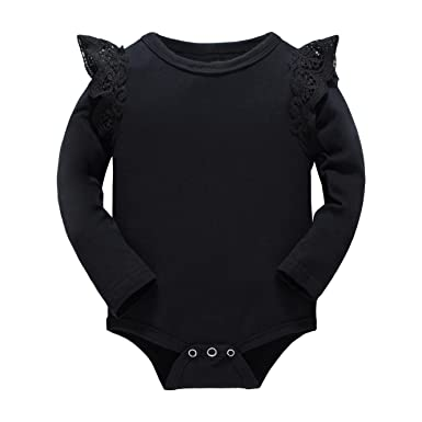 eb4651ad2 Huata Baby Girls Boys Long Sleeve Onesies Bodysuit Baby Romper (Black, 0-6