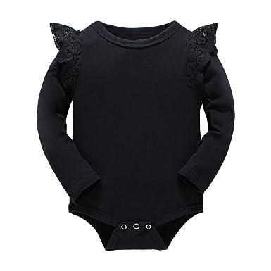 d3b13f4b384e Huata Baby Girls Boys Long Sleeve Onesies Bodysuit Baby Romper (Black