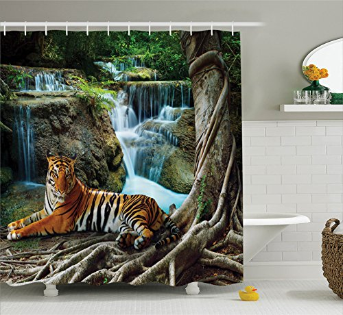 ambesonne safari decor collection indochina tiger lying with relaxing under banyan tree against limestone waterfalls picture polyester fabric bathroom