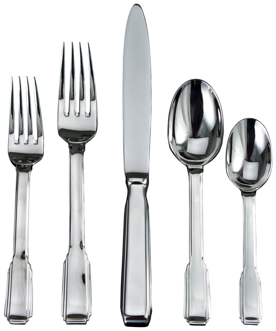 Ricci Art Deco 5-Piece Stainless-Steel Flatware Place Setting, Service for 1