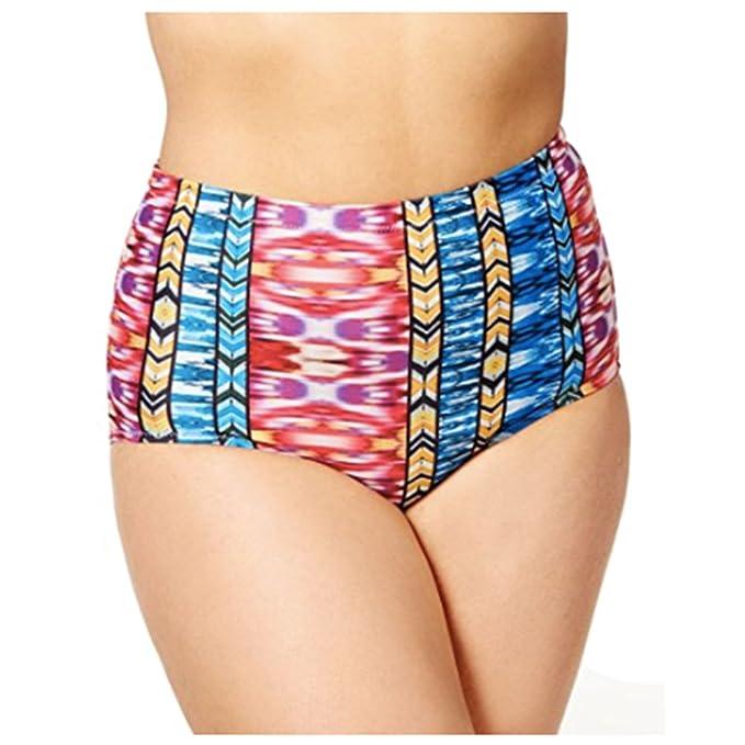 d607ff4dc6f Amazon.com  Raisins Curve Plus Size Around the World Printed High-Waist  Bikini Bottoms  Clothing