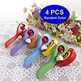 Elloapic Wooden Handmade Painted Wooden Spinning Top gyroscope peg-top With handle and Pull String Wire, Last long time, color random (4 Pieces)