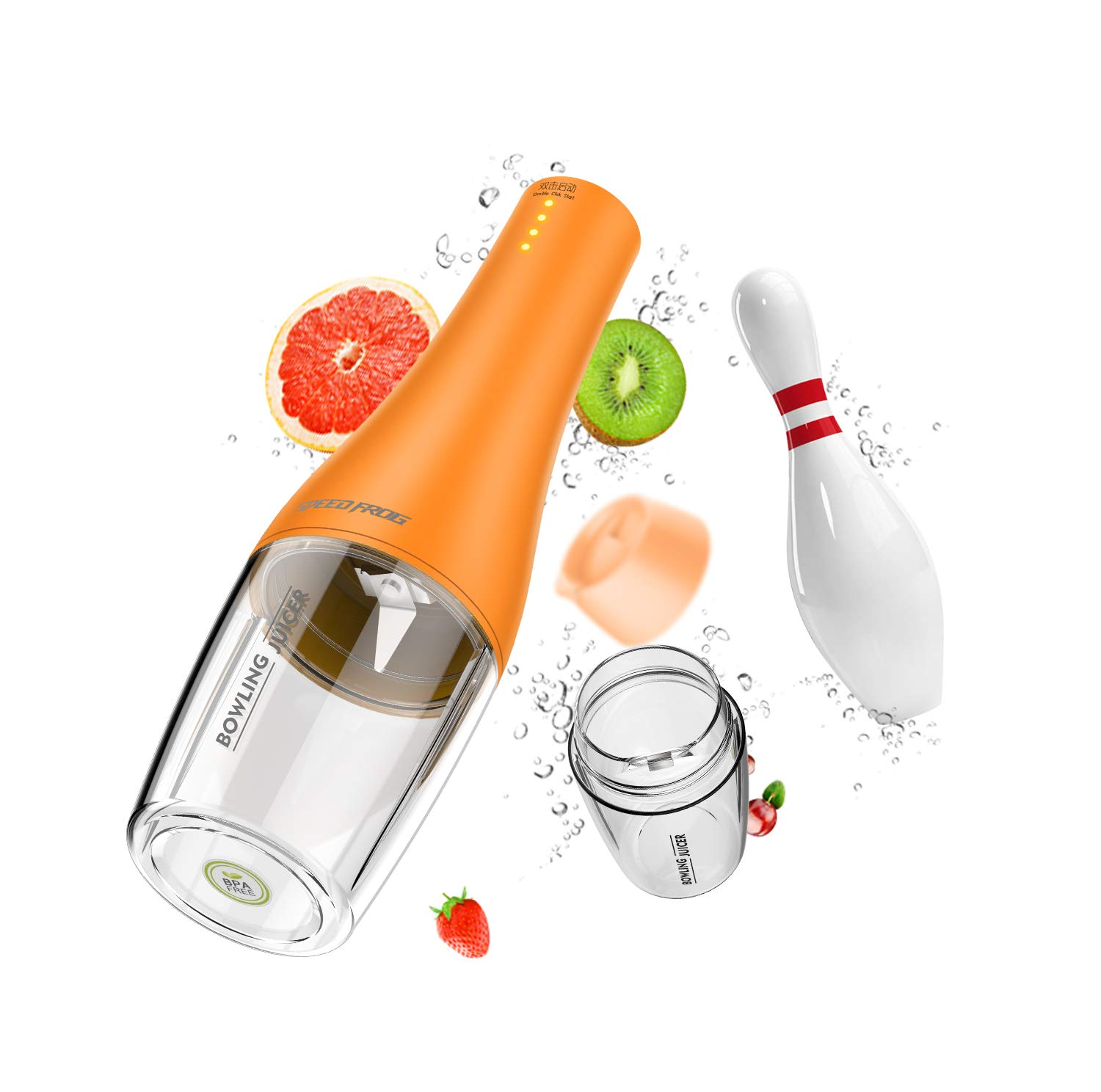 Portable Juicer, 350ml Juicer Blender With 4-Blade, Fruit Juice mixer for Home, Outdoors and Travelling, orange