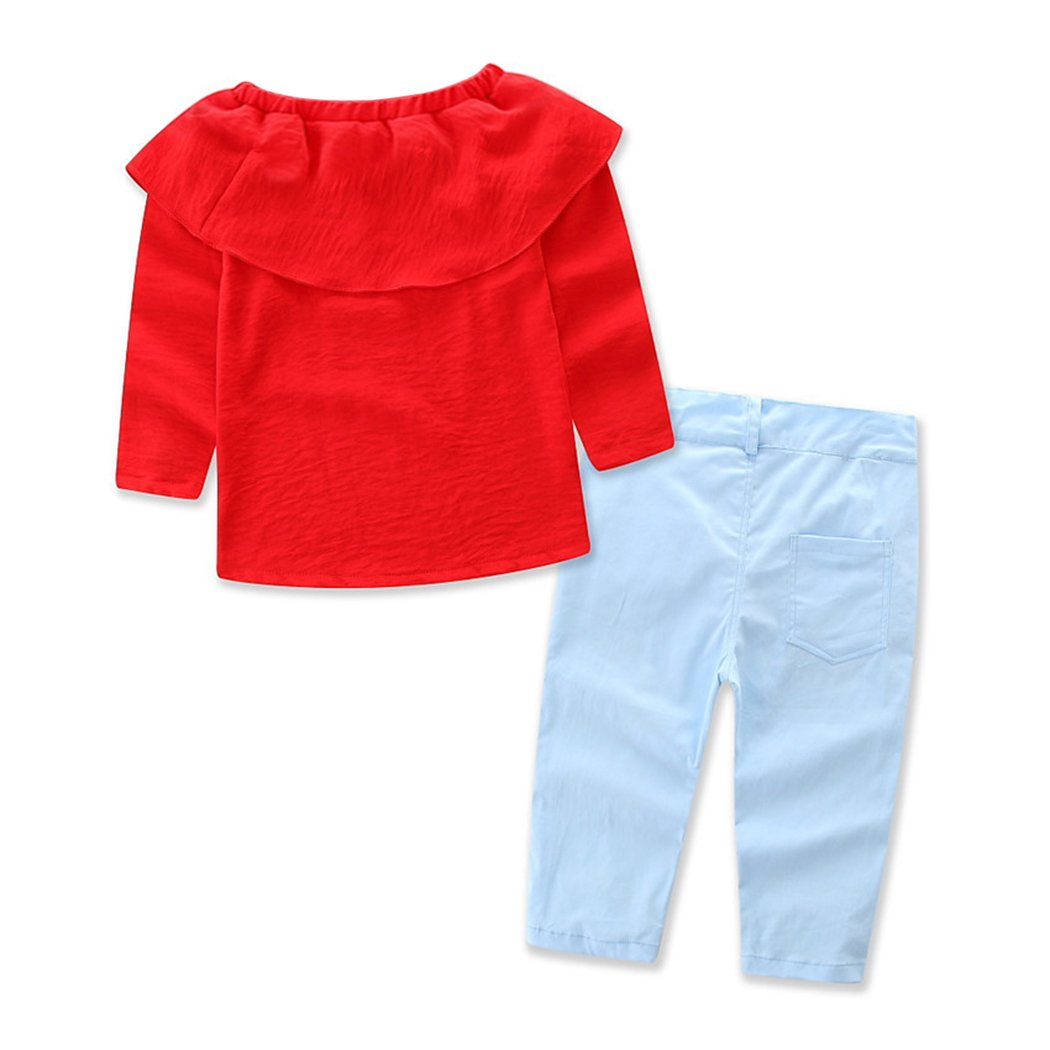 2T-7T Rose Embroidery Long Denim Pants Clothes Set XWDA Toddler Baby Girls Outfits Off Shoulder Long Sleeve Red Tops