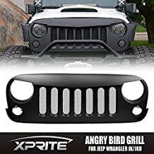 Xprite Angry Bird Grille Grill with Mesh Insert for Jeep Wrangler Rubicon Sahara Sport Jk 2007-2017 (Metal Matte Black)