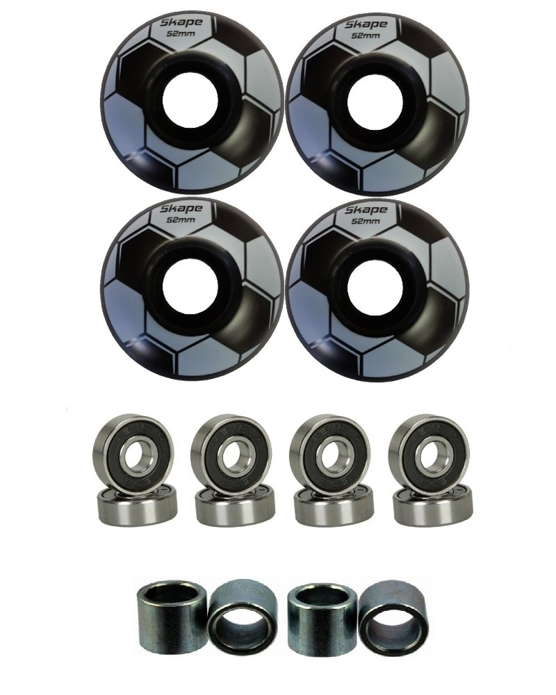 Everland 52mm Wheels w/Bearings & Spacers (Black Soccer) by Everland