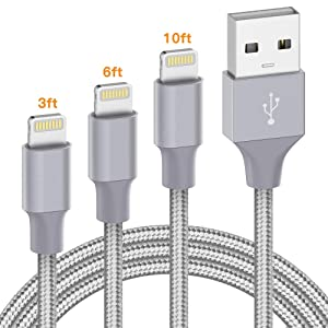 iPhone Charger Apple Certified - Marchpower Lightning Cable 3Pack 3ft 6ft 10ft Nylon Braided USB Fast Charging Cord Compatible with iPhone 11 Pro X Xs Max XR 8 7 6 Plus iPad Pro Airpods and More, Gray