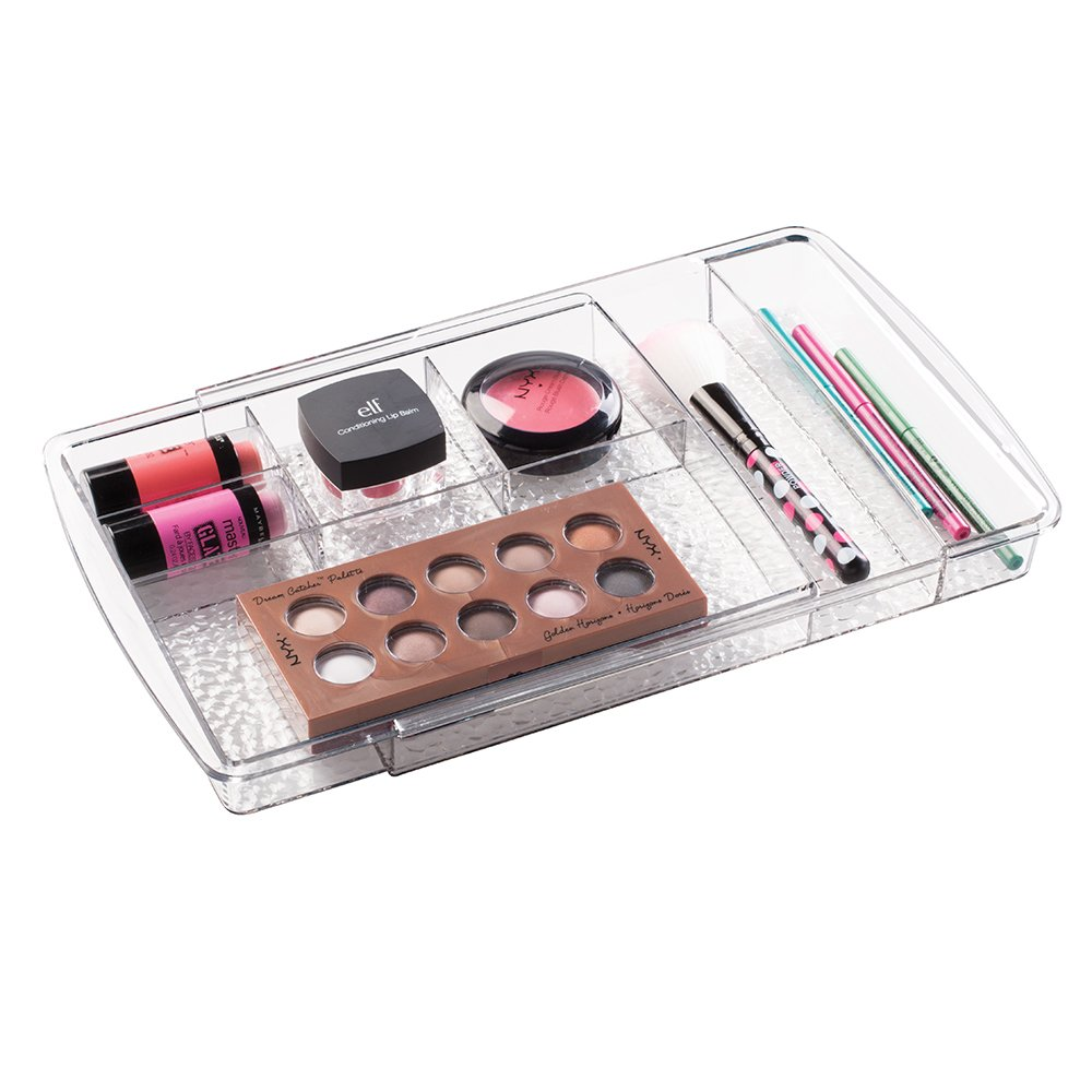 mDesign Expandable Makeup Organizer for Bathroom Drawers, Vanities, Countertops: Organize Makeup Brushes, Eyeshadow Palettes, Lipstick, Lip Gloss, Blush, Concealer - Adjustable Width, Clear