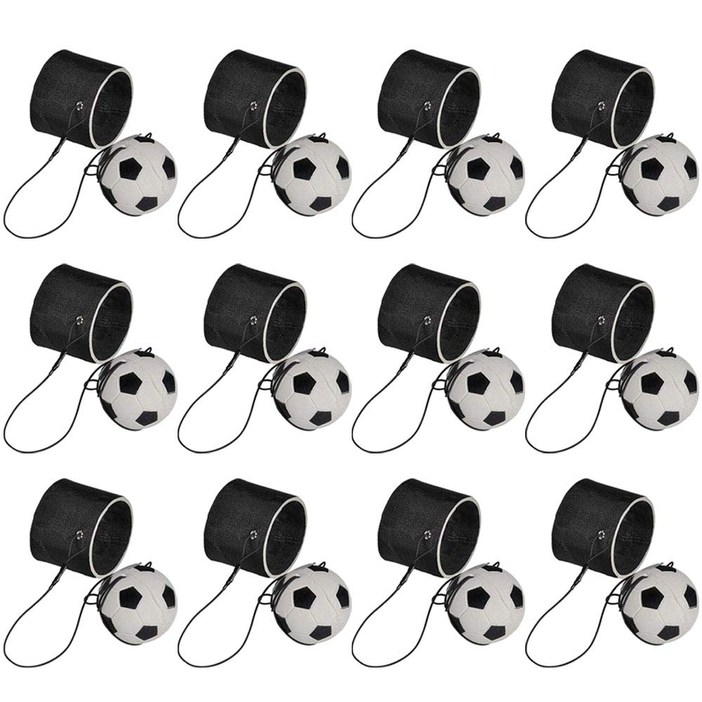 2.25'' Soccer Return Ball Set - 12 Pack - Mini Bouncy Ball with Bungee String Attached in a Black Wristband- Indoor and Outdoor Games for Kids and Adults