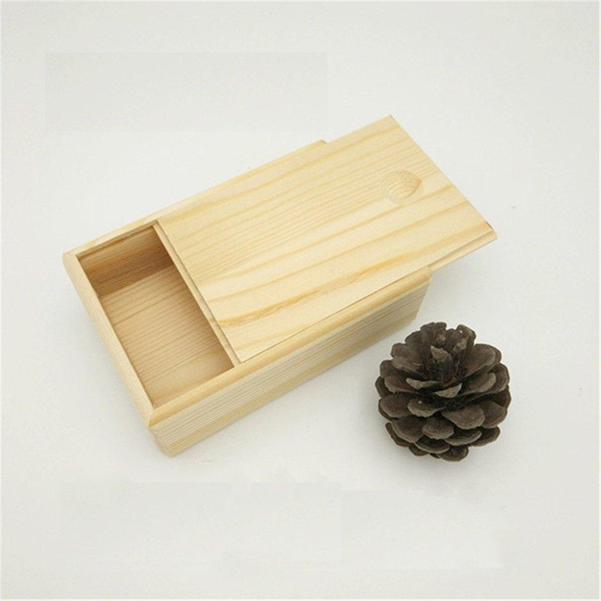 ECYC Caja De Madera PequeñA De Madera, Caja De Almacenamiento De Joyas para Regalo Small Gadgets con Tapa Y Cerradura (11x11x4cm): Amazon.es: Hogar