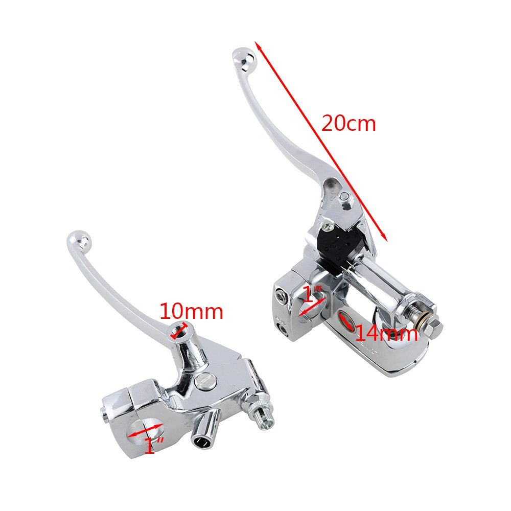 Universal Black 1 Inch LR Left Right Hand Front Chrome Hydraulic Brake Master Cylinder Motorcycle Dirt Bike AVT