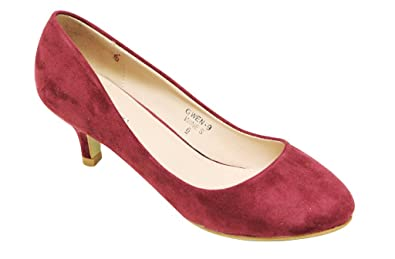 Bella Marie Gwen 9 Womens Round Toe Kitten Heel Suede Pumps Shoes Wine 55