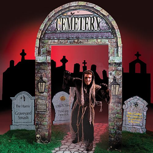 Halloween Graveyard Entrance Entryway Standup Photo Booth Prop Background Backdrop Party Decoration Decor Scene Setter Cardboard Cutout]()