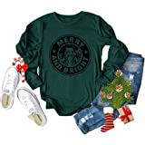Merry Christmas Tree Print T-Shirt Women Love Graphic Printed Leopard Plaid Casual Long Sleeve Tee Tops Blouse