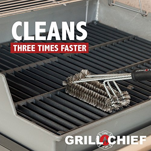 BBQ Grill Brush By GRILL CHIEF® – 18″ – 3 Stainless Steel Brushes in 1 – Best Barbecue Cleaner Tools Accessories – Outdoor Kitchen Wire Bristles Cleaning Grates Parts Set to Handle Weber, Charbroil, Gas, Electric, Porcelain, Infrared Grills