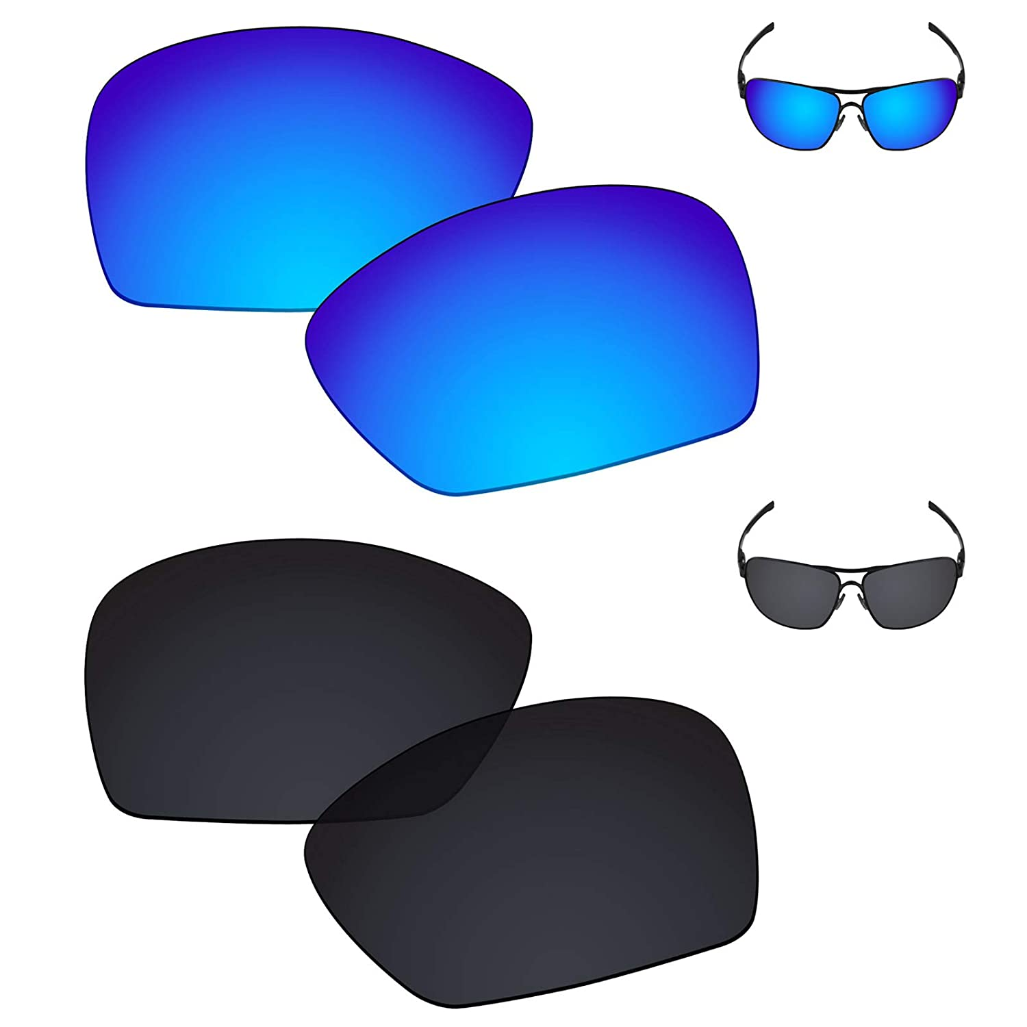 c91d36ee5b4 Amazon.com  Galvanic Replacement Lenses for Oakley Plaintiff Squared -  Amber + Black Polarized - Combo Pack  Clothing