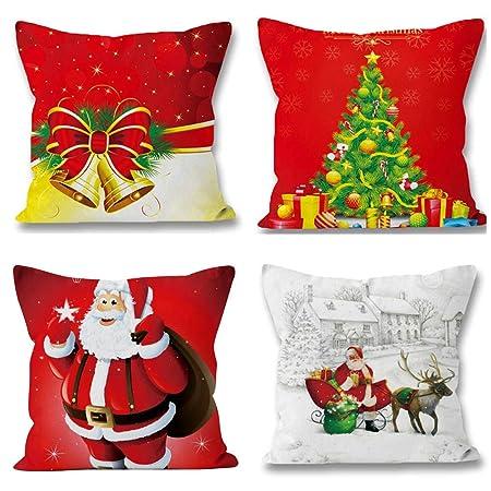 Cuscini Natalizi Per Divano.Buon Natale Bellissimo Babbo Alce 4 Pacchi Cuscini Per Divani