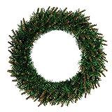 Fabal 30/40/50cm DIY LED Hanging Wreath Christmas Party Decoration Wall Ornament Garland Christmas Green PVC Yellow Head Wreath (50cm)
