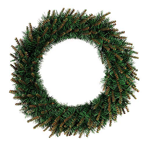 Transer- Pine Fall Front Door Wreath, 12/16/20 Inches Decorative Leaves & Flower, Merry Christmas Party Door Wall Garland Decoration (Green, 16 Inches)]()