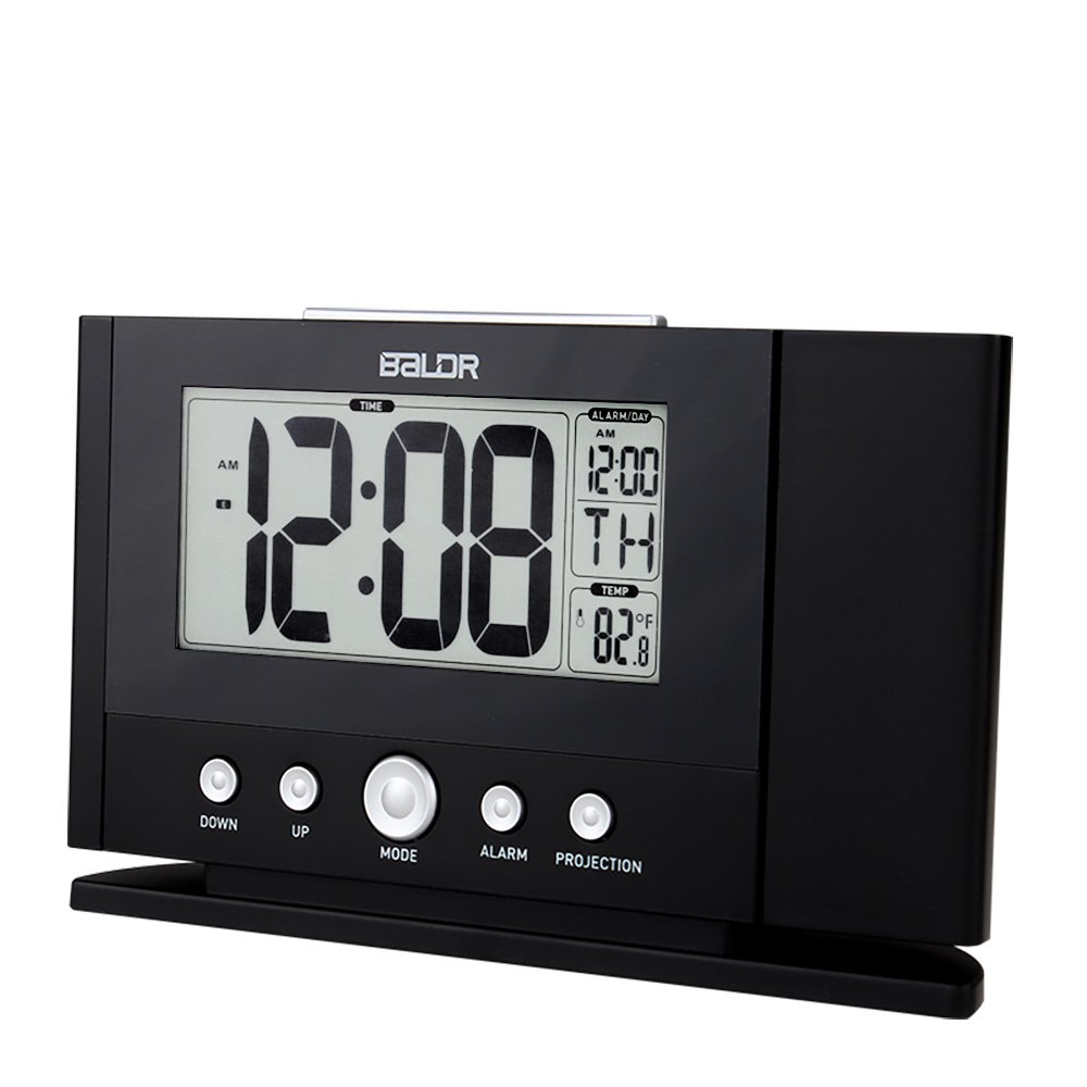 BALDR Digital Projection Alarm Clock Dimmable New Improved Time Projector on the ceiling or wall with LCD Time Calendar Temperature Display bedside clock desk clock for Bedroom, Baby room, Living roo by BALDR