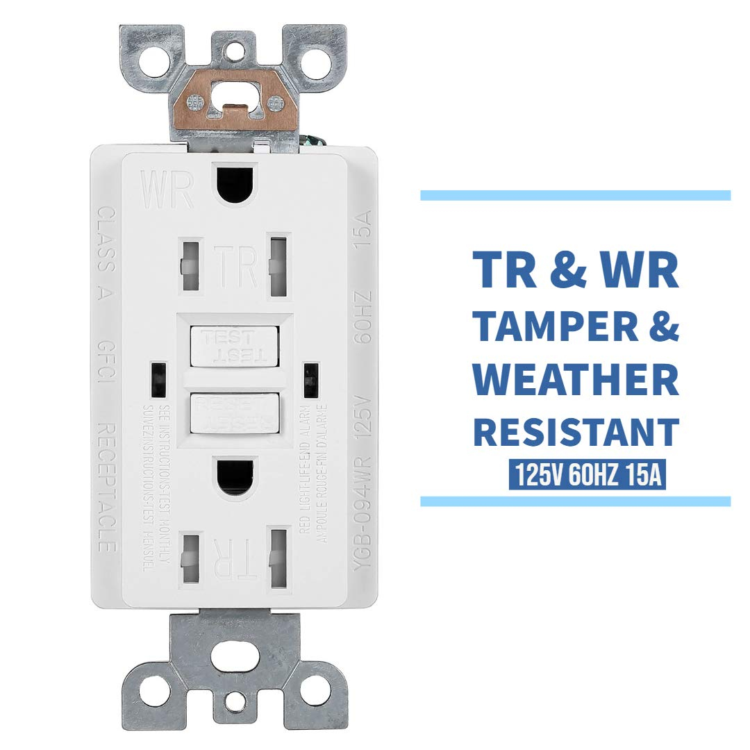 10 Pack - GFCI Duplex Outlet Receptacle - Tamper Resistant & Weather Resistant 15-Amp/125-Volt, Self-Test Function with LED Indicator - UL Listed, cUL Listed - Wall Plate and Screws Included, White by Dependable Direct (Image #3)
