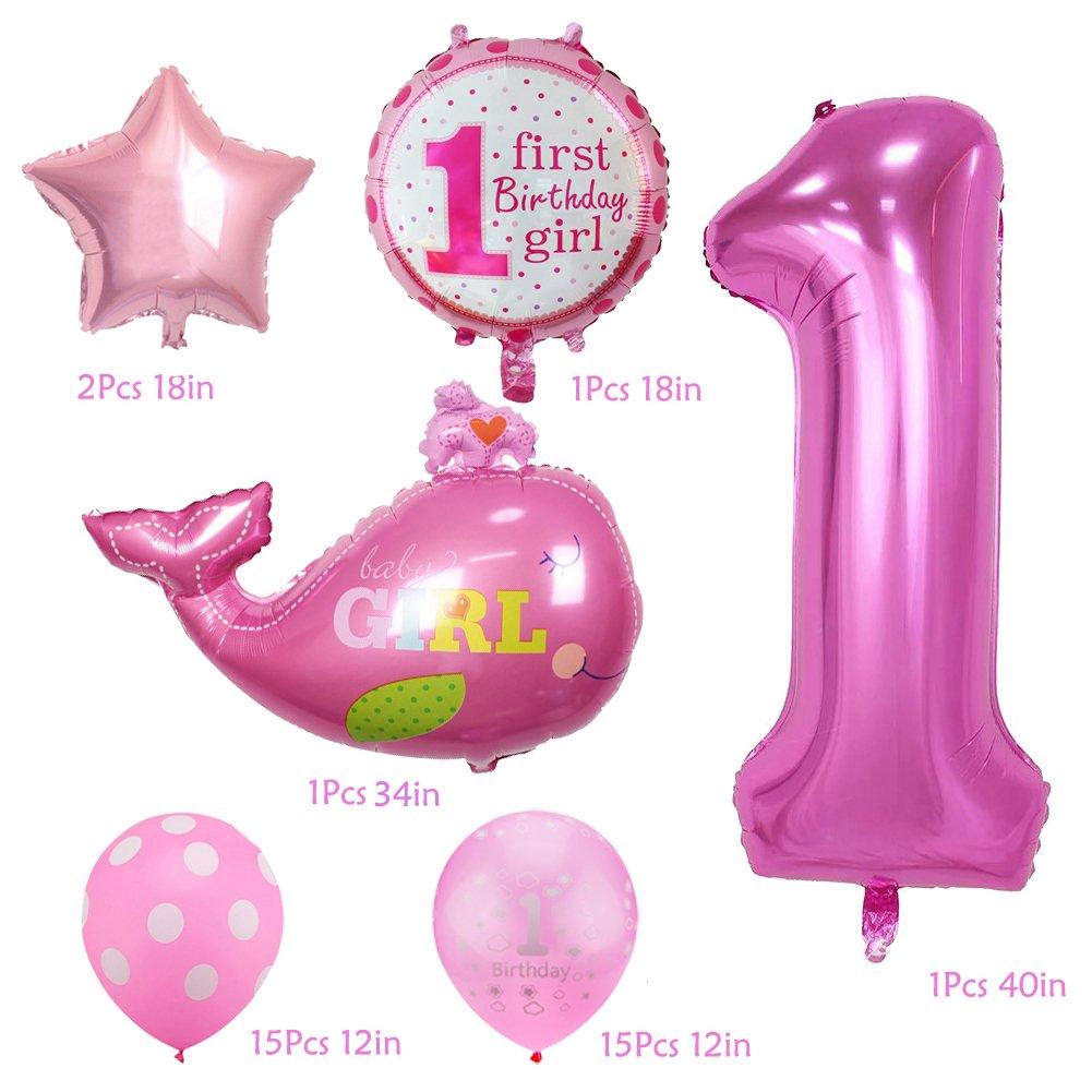 Amazoncom KUMEED Kids First Birthday Balloons Girl 1st Bday Party