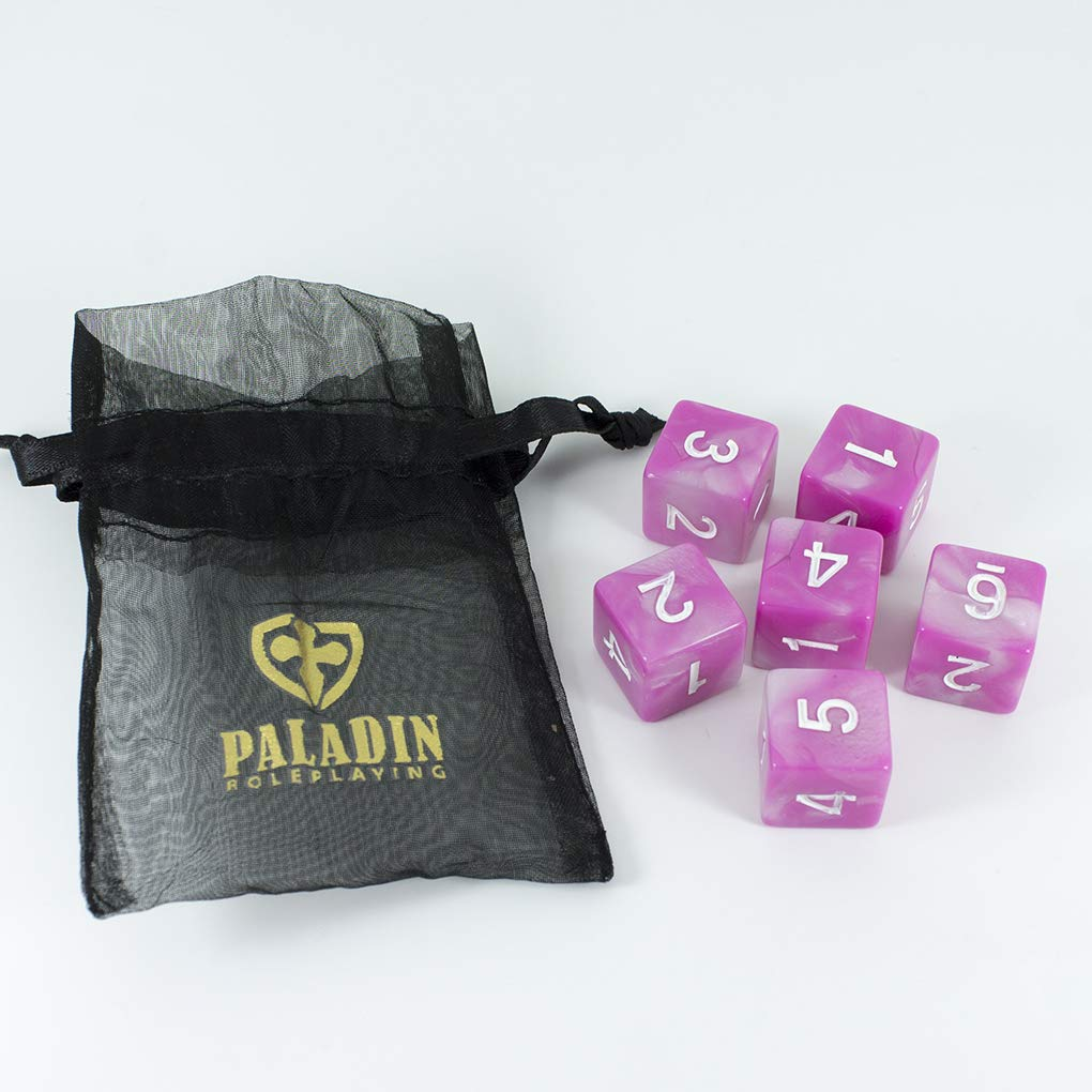 Paladin Roleplaying Pink D6 Dice Cherry Blossom Set of Six