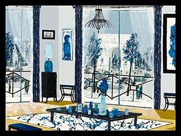 Le Salon Bleu von Bord Erie, Wooden Frame Black, 147 x 110cm: Amazon ...