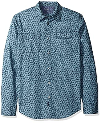 Calvin Klein Jeans Men's Long Sleeve Oiled Rose Print Button Down Shirt