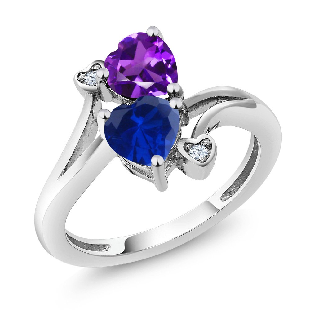 925 Sterling Silver Blue Simulated Sapphire and Purple Amethyst Women's Ring 1.48 Ctw Heart Shape (Size 9)