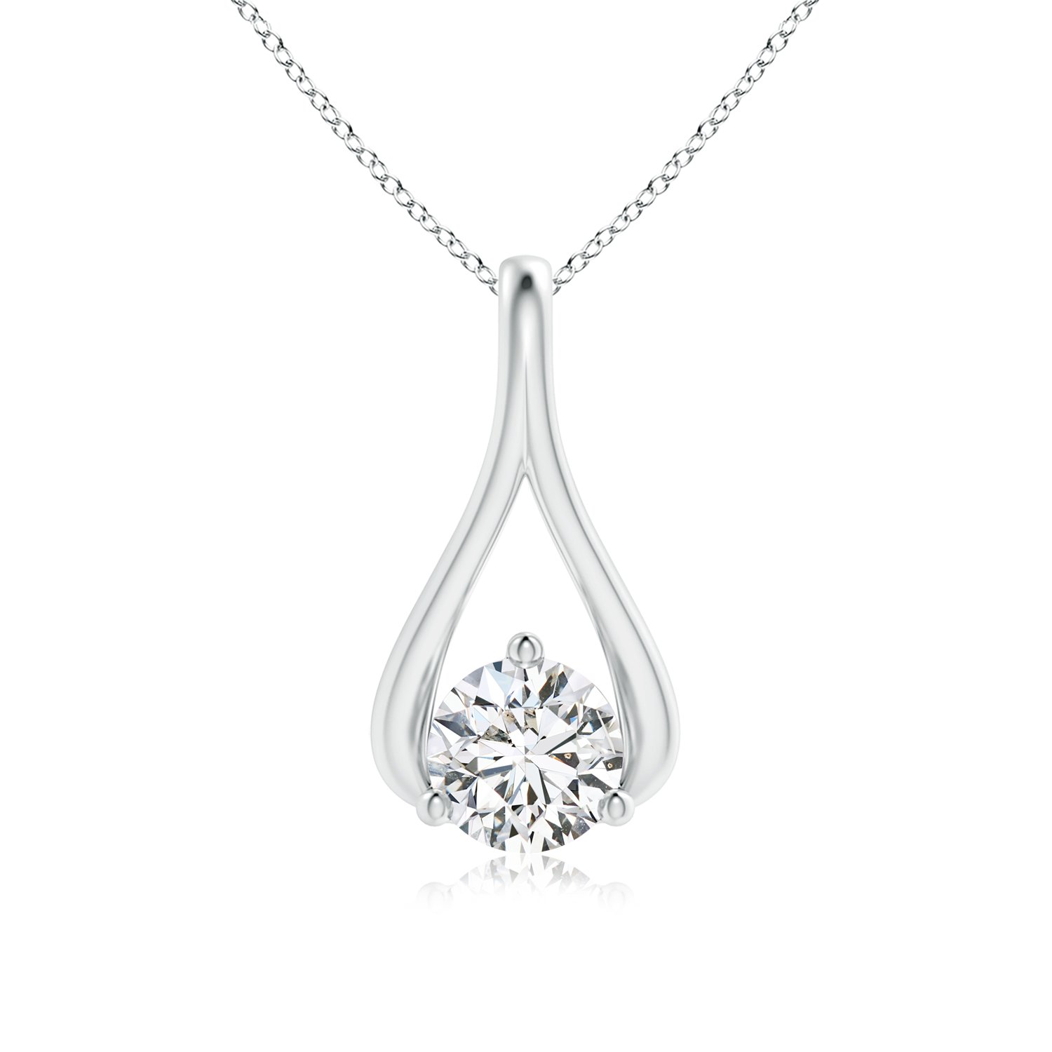 Solitaire Lab Grown Diamond Wishbone Drop Pendant in 14k Gold Pure Ignis PI-P-PSP1115D-WG-HSI2-4 Valentines Offer
