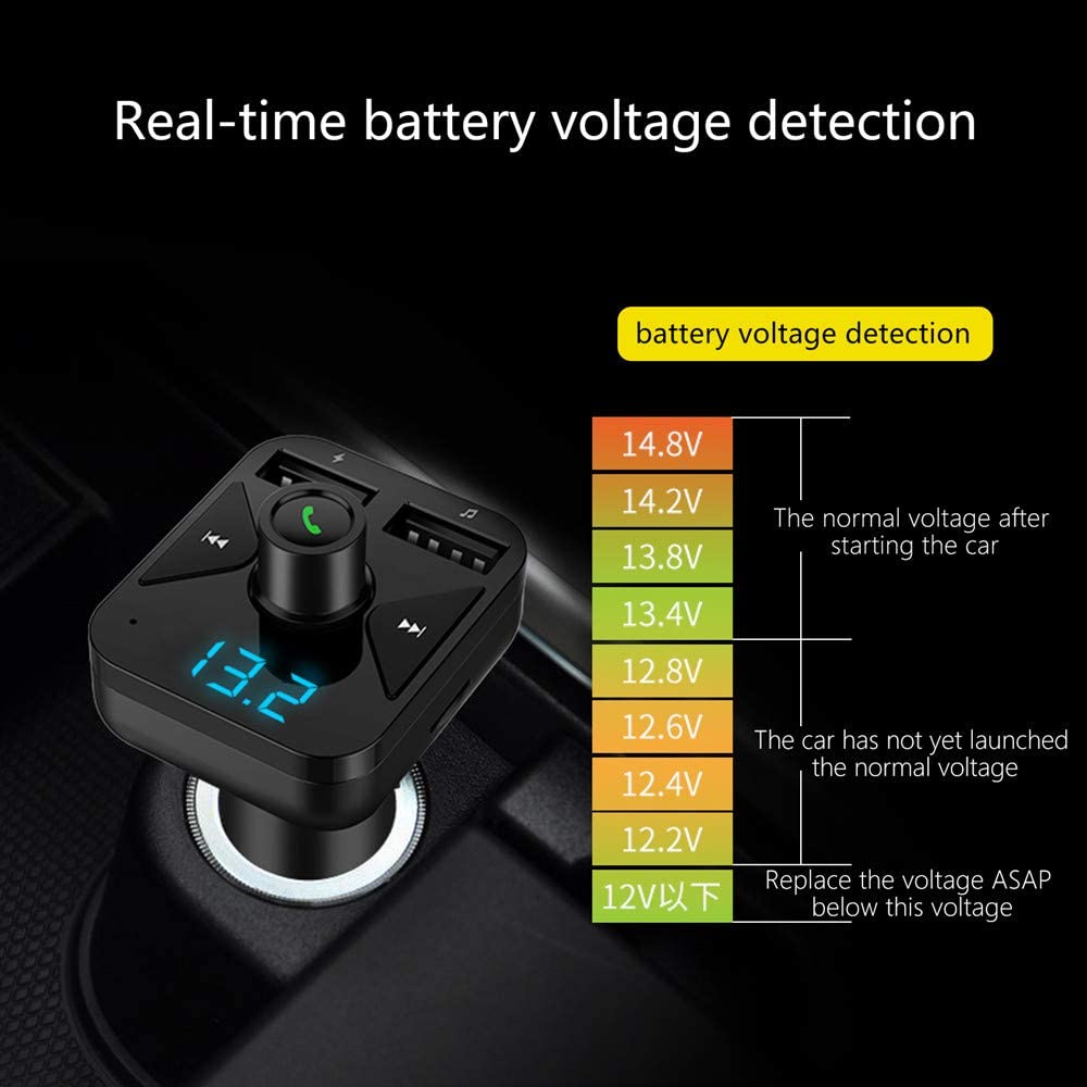 KALENI Car MP3 Music Player with USB Car Charger Wireless in-Car Radio Transmitter Adapter Car Kit Support TF Card and USB Flash Drive Bluetooth FM Transmitter for Car