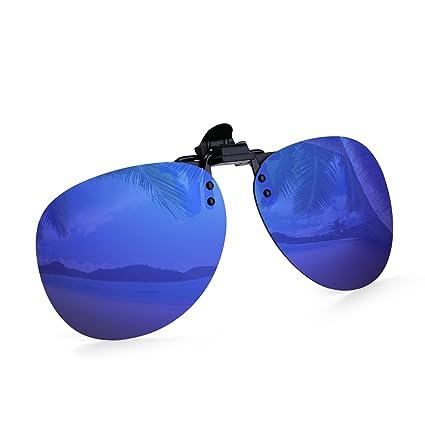 fc2bccdb1f Amazon.com  Costyle Royal Blue Mirror Retro Polarized Clip-on Flip-up  AVIATOR Plastic Sunglasses Driving Fishing Outdoor Sport  Sports   Outdoors