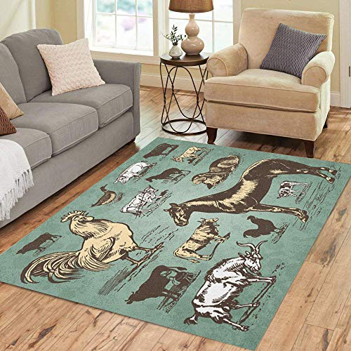 Semtomn Area Rug 2' X 3' Rooster Vintage Farm Animals Drawings Livestock and Poultry Retro Home Decor Collection Floor Rugs Carpet for Living Room Bedroom Dining Room