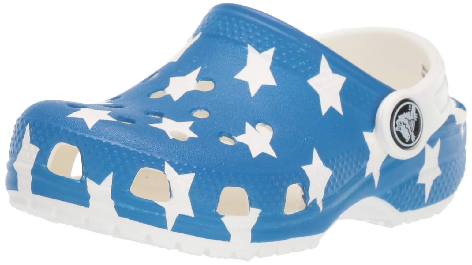 Crocs Unisex Classic American Flag Clog, White/Multi, 3 M US Little Kid